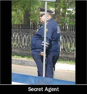 fat policeman behind the street sign secret agent