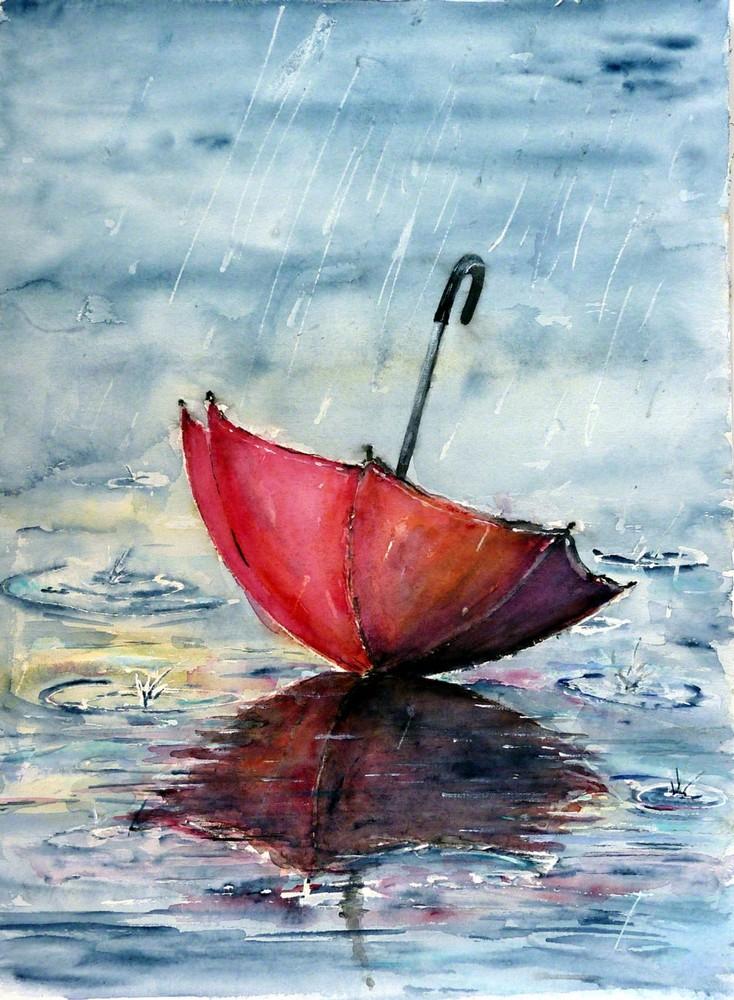Litterae artesque tanz im regen von anne parden for Painting red umbrella