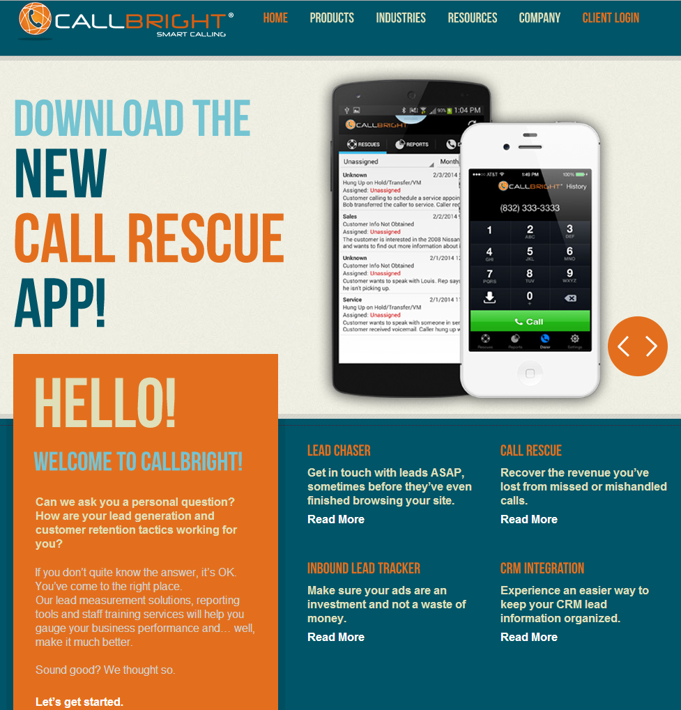 Home screen of new Callbright site