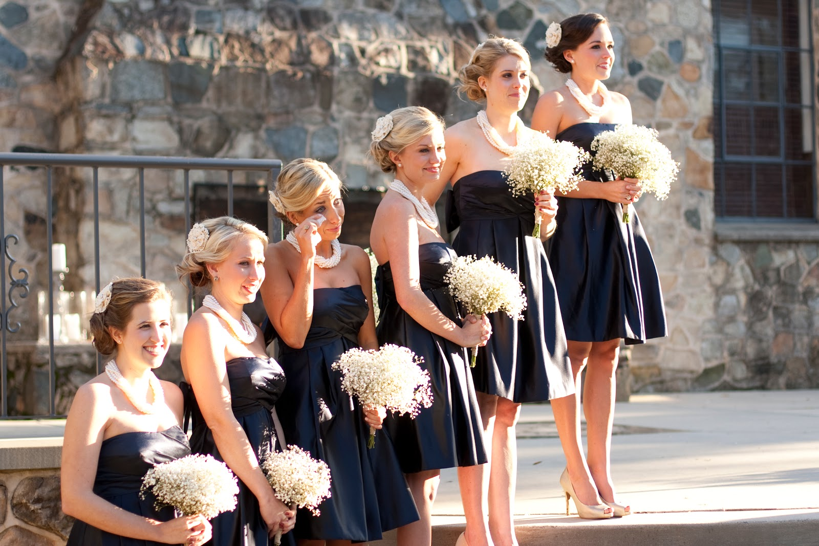 Long black bridesmaids dresses and white flowers the knot long black bridesmaids dresses and white flowers the knot pinterest long black bridesmaid dresses black bridesmaids and white flowers ombrellifo Gallery