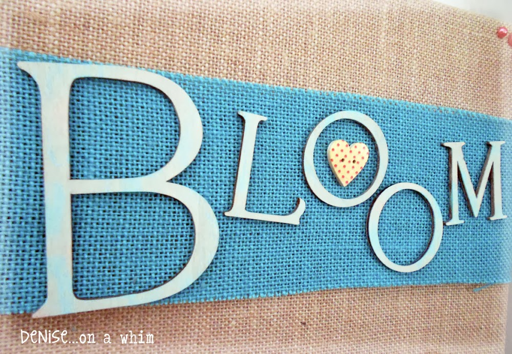 Dry-Brushed Letterson a Burlap Ribbon via http://deniseonawhim.blogspot.com