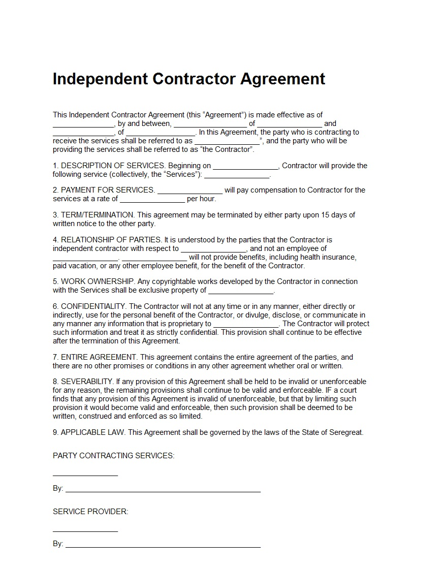 Independent contractor agreement template sample for Free contractor agreement template