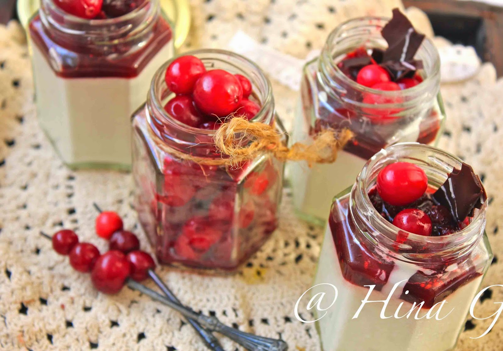 Eggless White Chocolate Mousse Recipe with Balsamic Cranberry Glaze