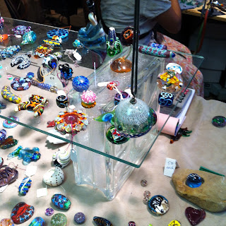 Beautiful colored beads and glass items at the Ozark Folk Center