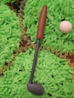 Golf Themed Cheesecake Brownie Cupcakes - Close Up View of Golf Club and Golf Ball
