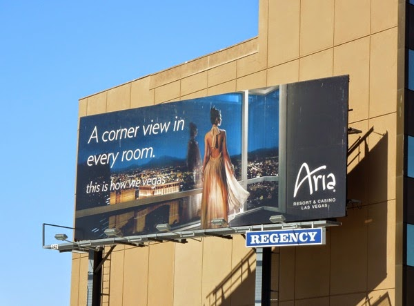 corner view every room Aria Vegas billboard
