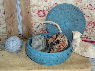 Early Blue's Sewing Basket with early calico pin cushions, available set $115.00