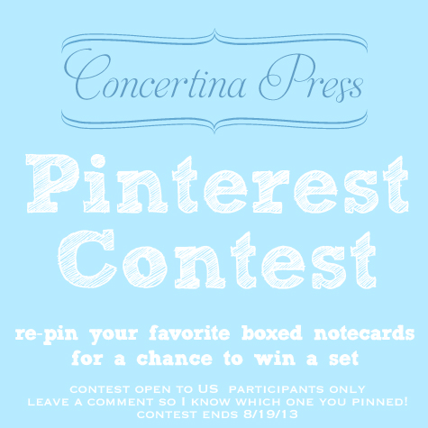 Pinterest contest from Concertina Press - ends 8/19