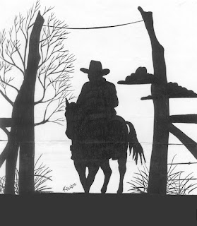cowboy silhouette optical illusion