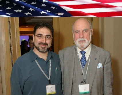 Sam Bazzi of Arcs, left, with Vint Cerf at ICANN Los Angeles