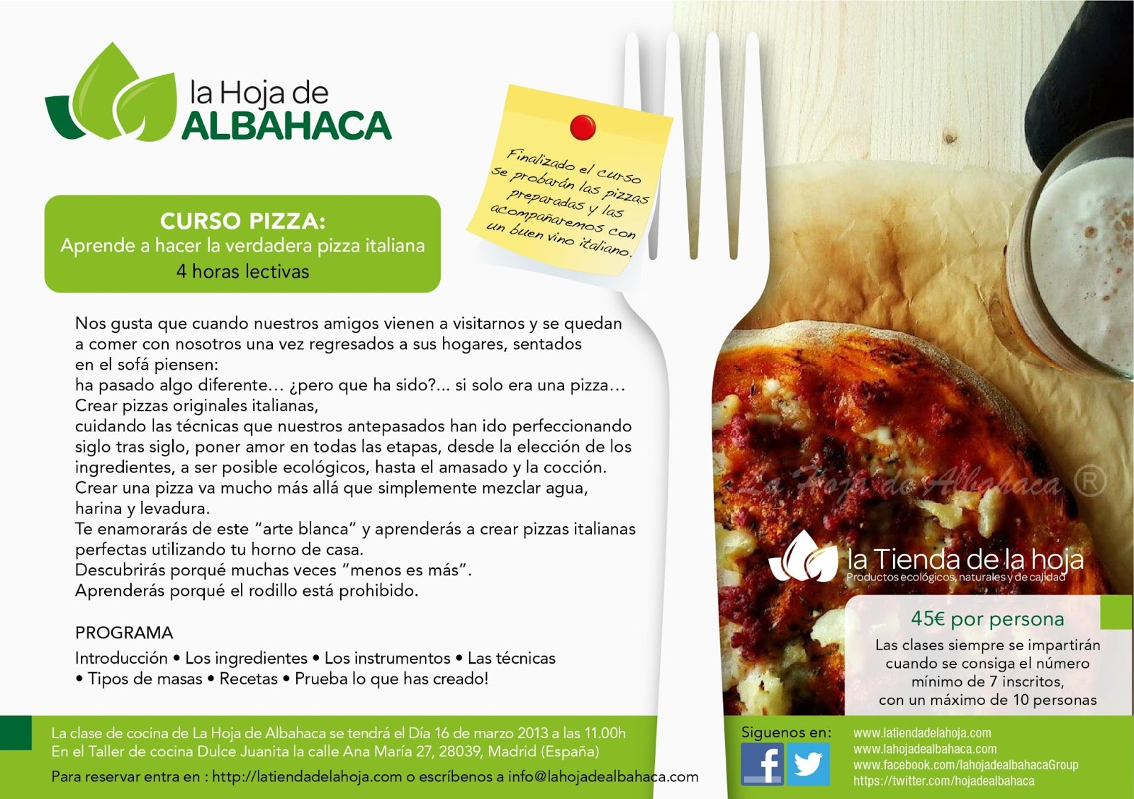 sorteos, cursos pizza, cursos Madrid, pizza, pizza italiana