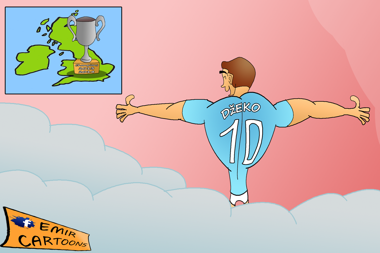 Manchester City ,Manchester City  Edin Džeko,Edin Džeko,emir balkan cartoons,emir cartoons,karikature,karikatura dana,fudbal,prenos,