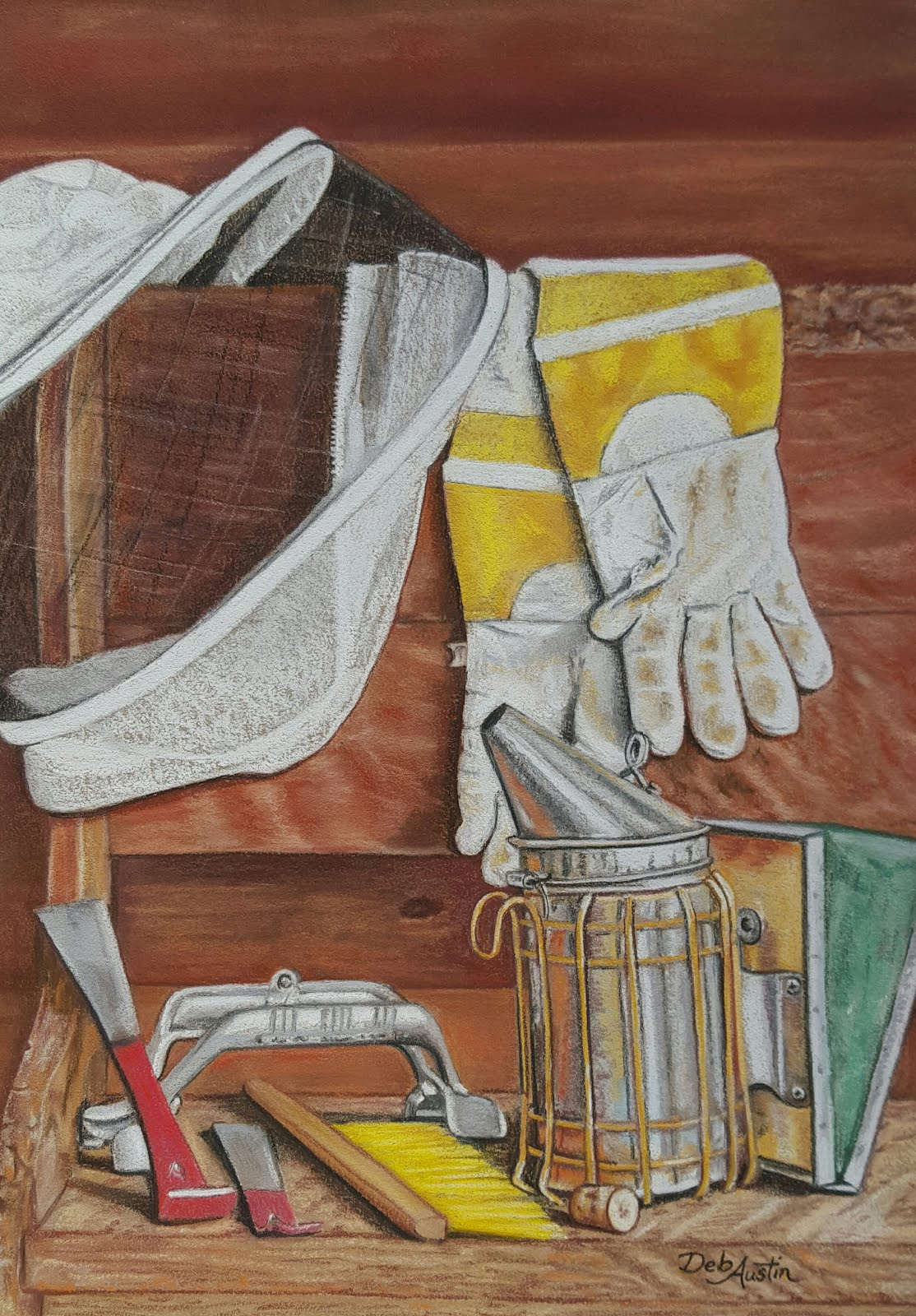 Tools of a Beekeeper  (pastels)  -  sold