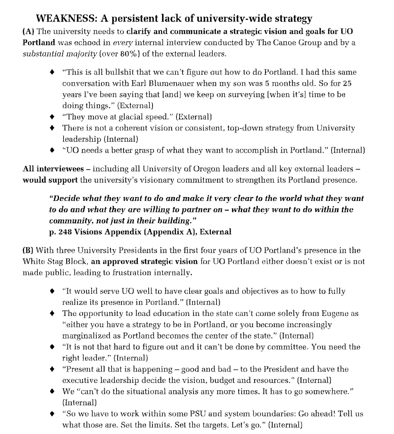 does uo have a strategic plan for portland yet uo matters presumably the good stuff from the pwg report starts on page 231 but uo redacted it and the next few pages
