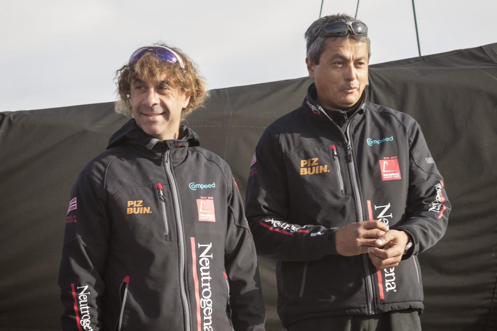 Guillermo Altadill et Jose Munoz au départ de la Barcelona World Race.