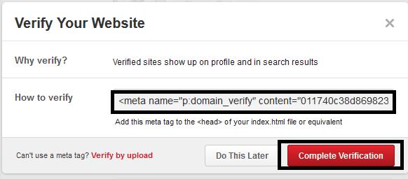 verifikasi meta tag pinterest