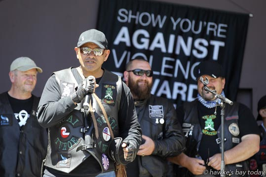 Takurua Tawera, rider spokesman - White Ribbon motorcycle riders supported an anti-violence rally at the Sound Shell, Napier. photograph