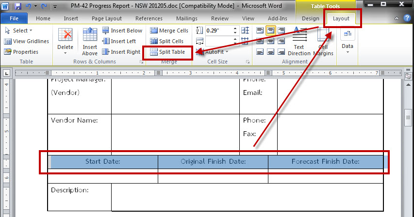 Microsoft word split the connected table for 1005 can t create table