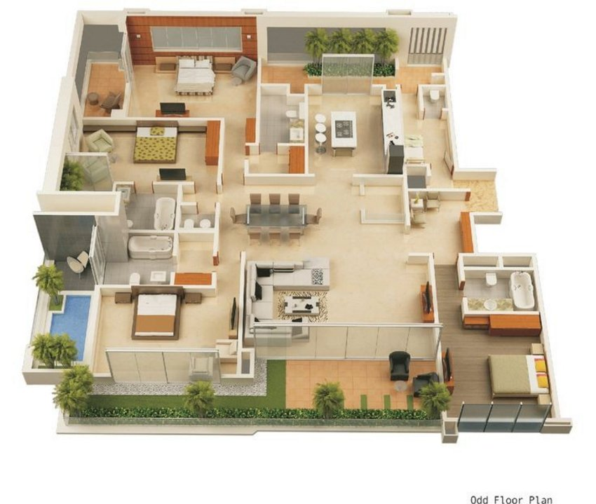 3D House Cool Of Interior Plan Houses 4