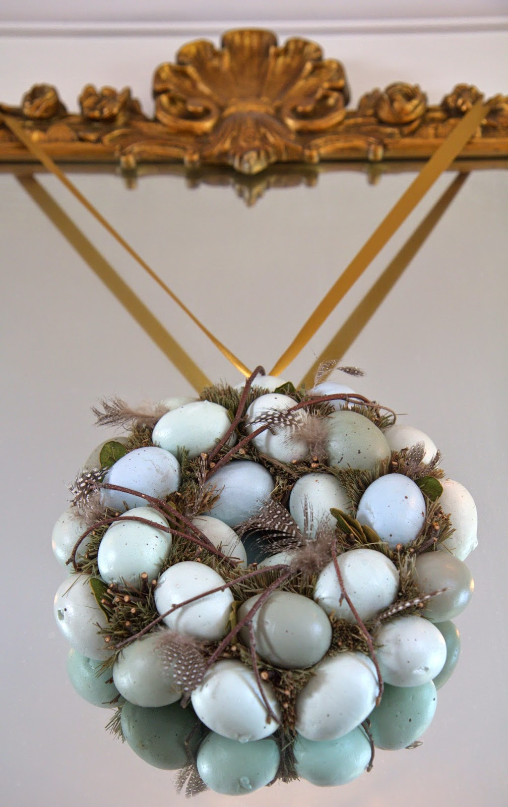 Woodland Party; Living Room mantle, pastel egg wreath: Nora's Nest