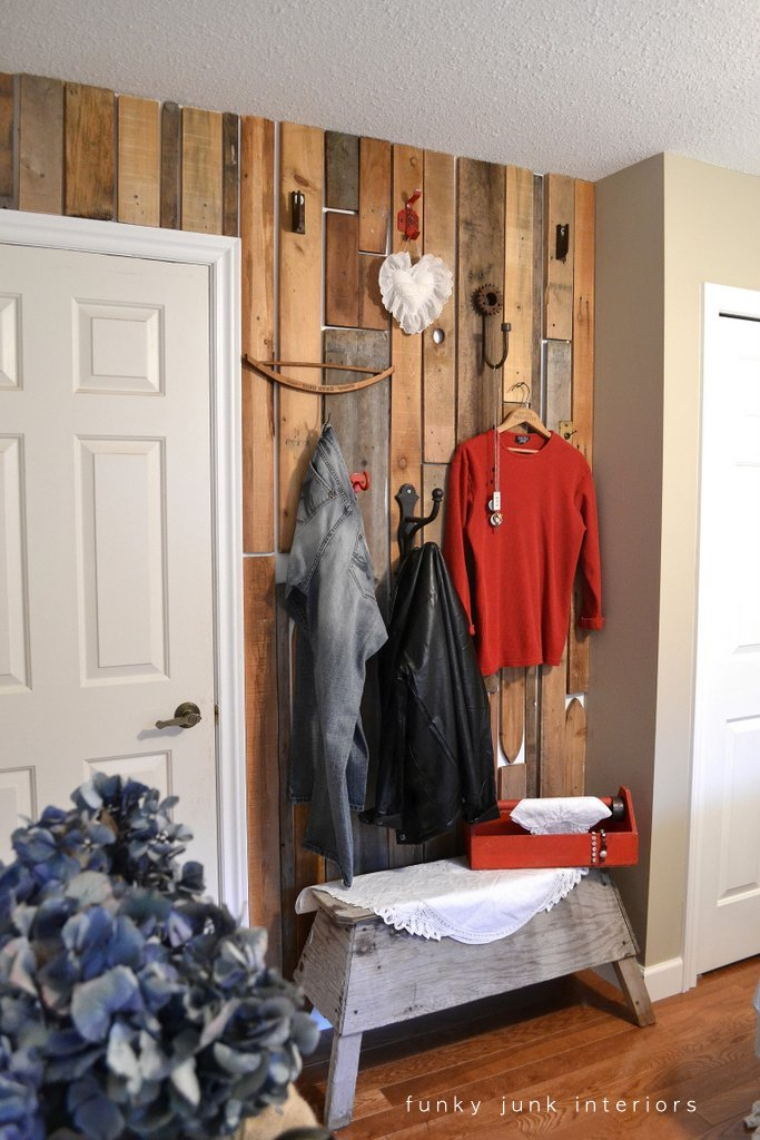 Have. Bedroom Redo Part 3  a pallet wood closet wall   Funky Junk