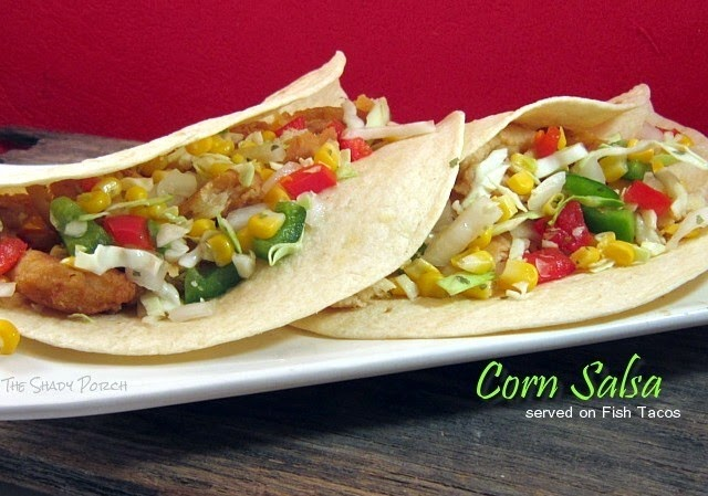 Corn Salsa served on Fish Tacos