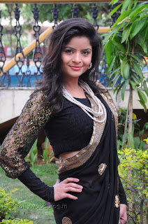 Gehana Vasista in black saree Pictures 001.jpg