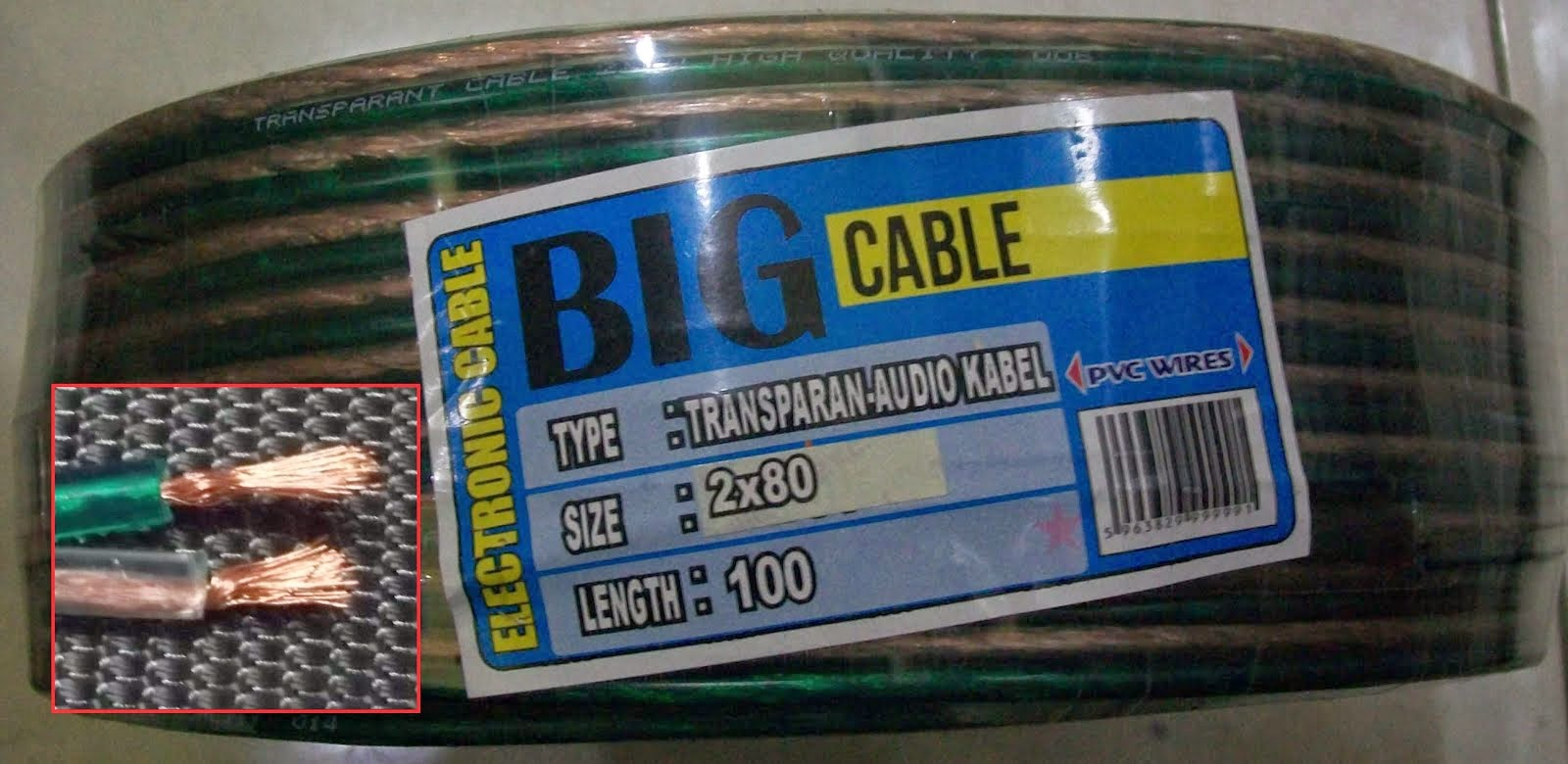 Kabel Transparan 2x80 BIG 100 Y (90 m Full)