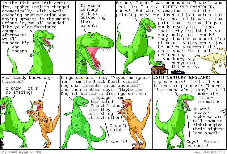 Sfalingblog Great Vowel Shift Dinosaur Comics