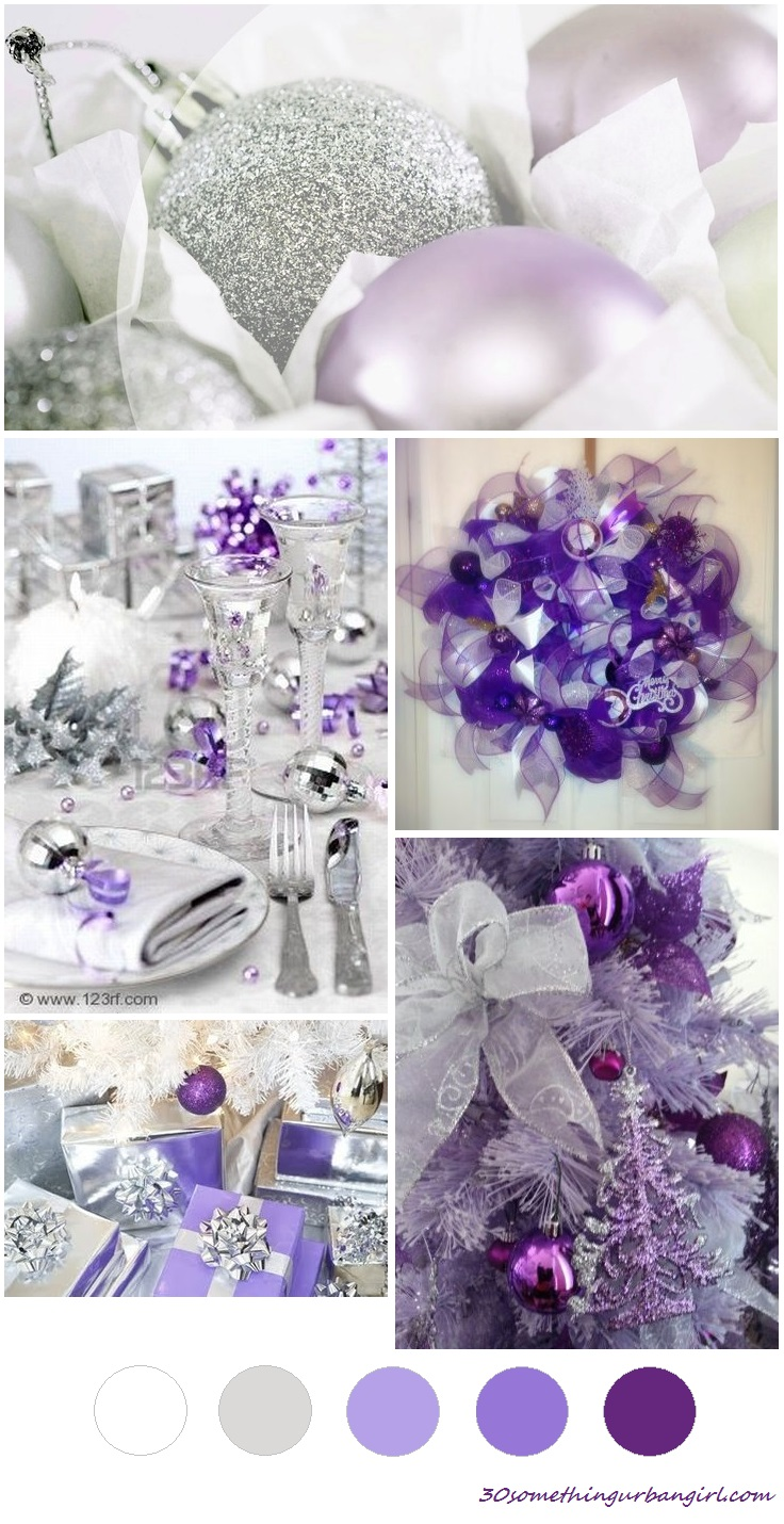 soft and beautiful Christmas color palette - lilac, purple, silver and white