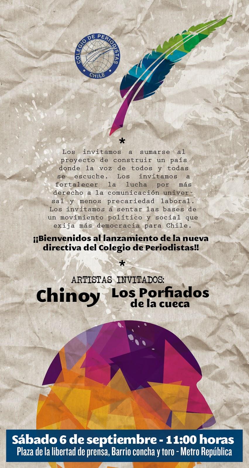 Chinoy actuará en presentación pública y ciudadana de nueva conduccióndel Colegio de Periodistas