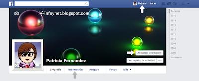 Actualizar información desde la página de Perfil de Facebook