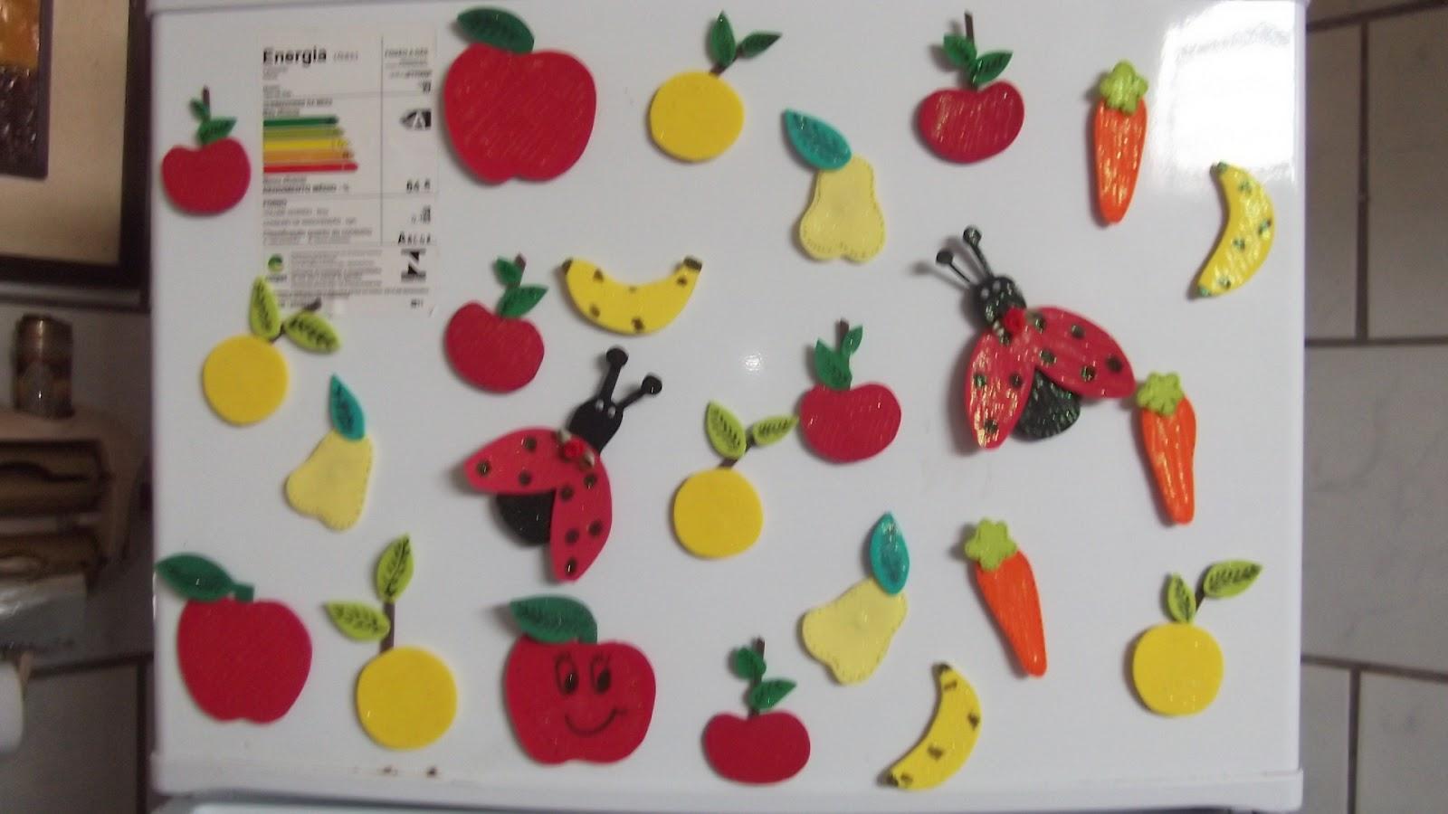 Imãs de geladeira frutas, legumes e bichinhos