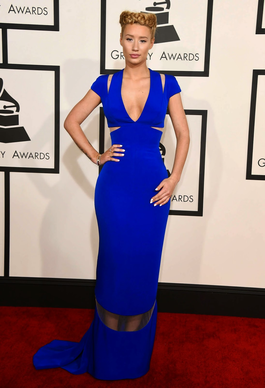 Iggy Azalea stuns in a blue Giorgio Armani dress at the 2015 Grammy Awards in LA