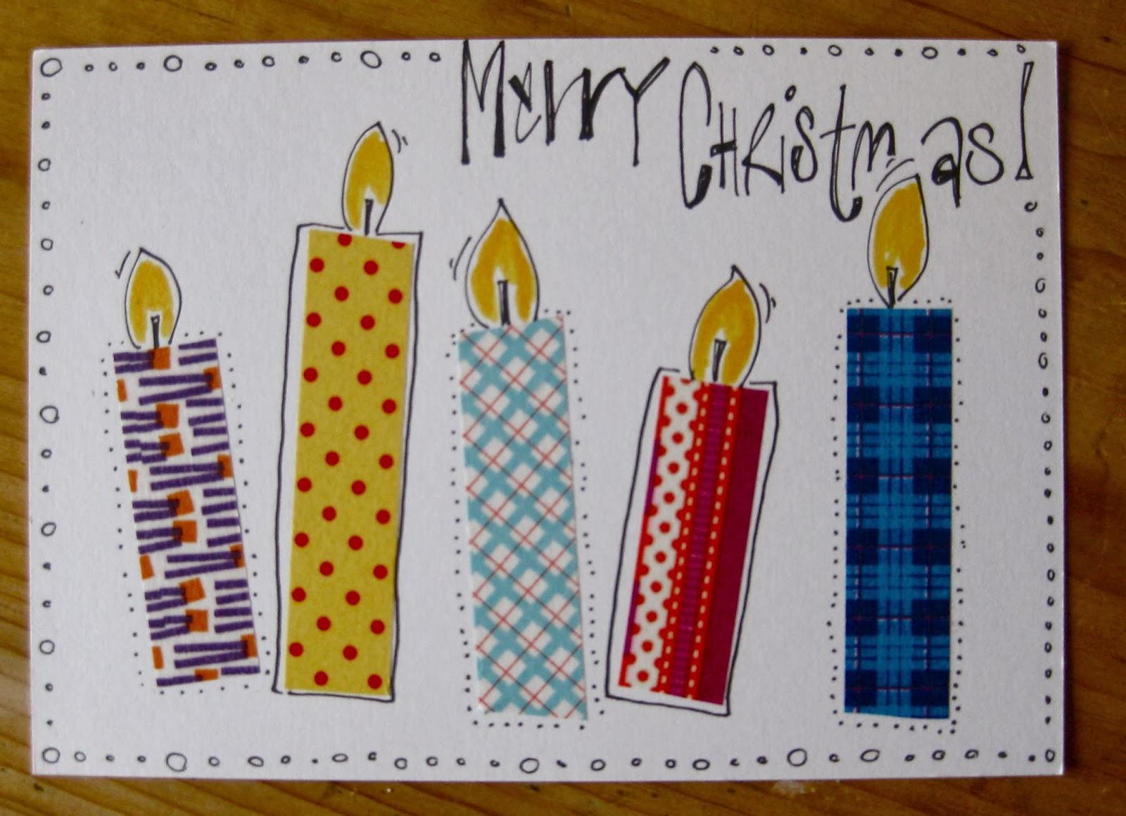 Weihnachtskarten mit washi tape kiwez kiwez - Weihnachtskarten mit kindern basteln ...