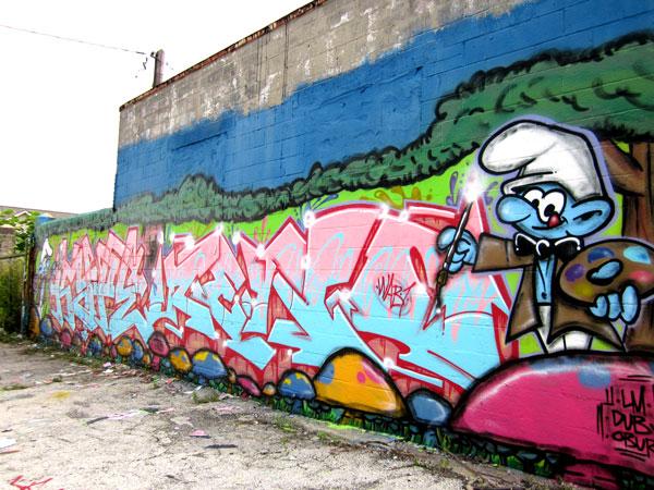 Reno's Half of Smurfs Mural