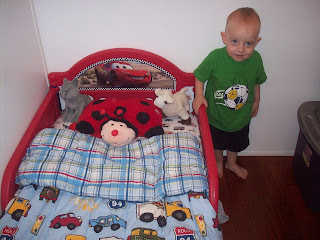 Standing next to his brand new toddler bed!