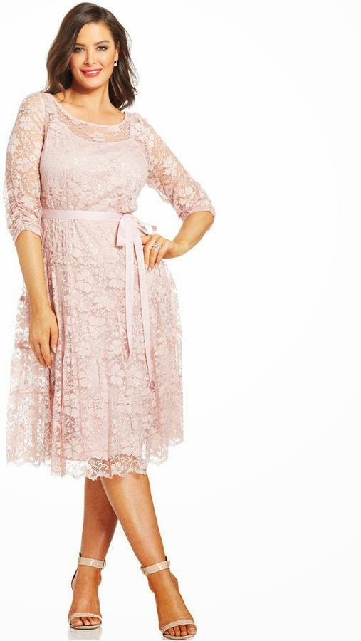 Plus Size Cocktail Dress - Plus Size Metallic Lace Ribbon-Belt Dress