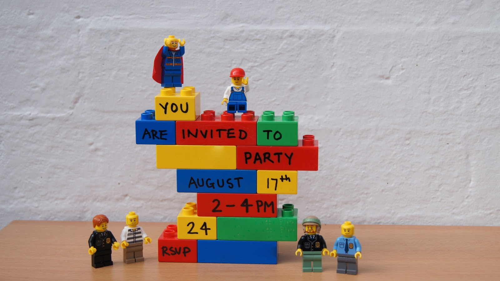 in preparation for a lego party, Party invitations