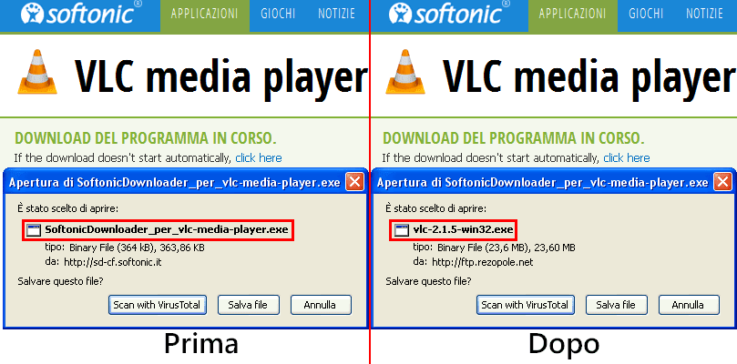 AntiAdware effetto script download programmi da Softonic
