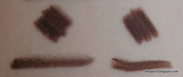 Comparison swatches of ULTA Gel Eye Liner Pencil in Mink and Urban Decay Glide-On Eye Pencil in Whiskey.