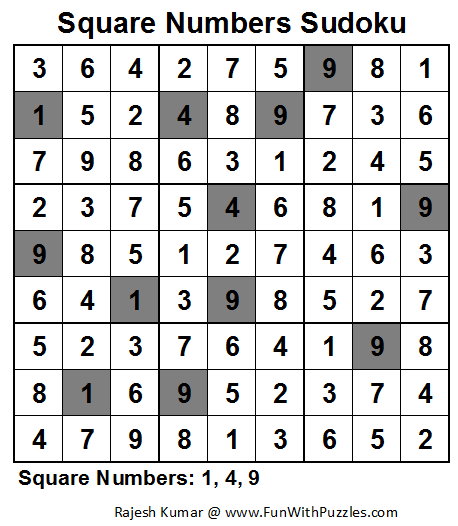 Square Numbers Sudoku (Fun With Sudoku #35) Solution
