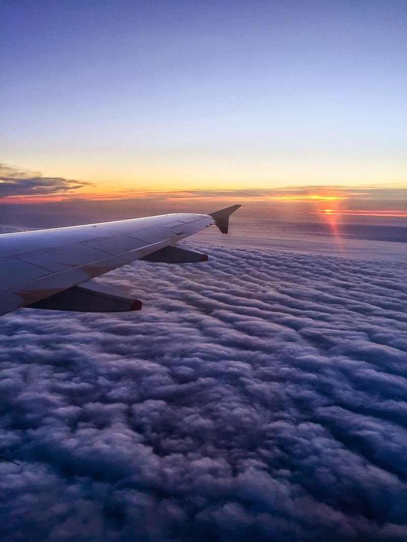 aeroplane view of the sunset and clouds