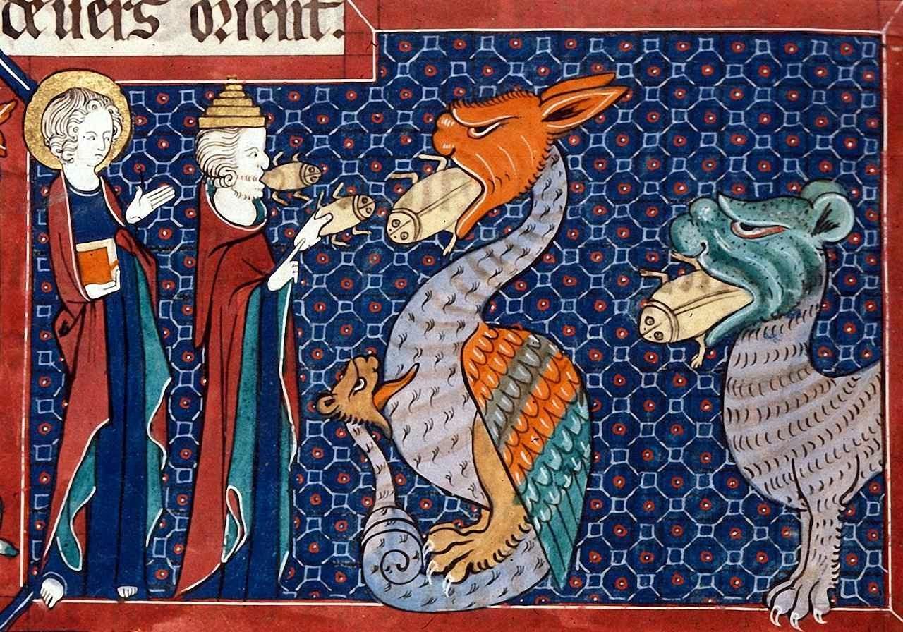 São João vê o falso profeta pregando em favor das bestas. De suas bocas saem rãs, símbolo de sua impureza e heterodoxia.  'Welles Apocalypse', Inglaterra, início siglo XIV, British Library.
