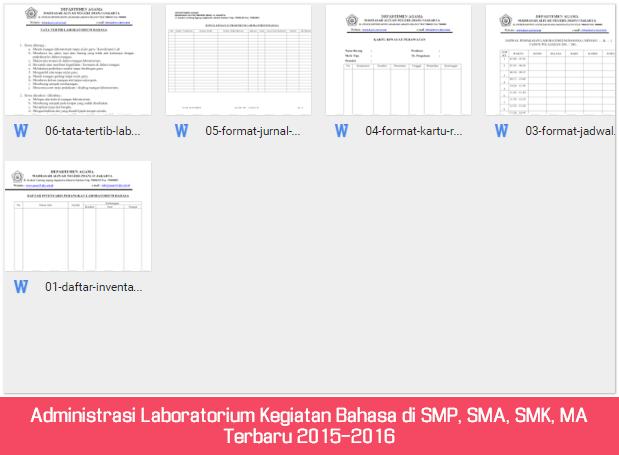 Administrasi Laboratorium Kegiatan Bahasa di SMP, SMA, SMK, MA Terbaru 2015-2016