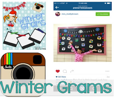 Winter Grams are a little Instagram like art project for your class where they get to share the fun activities they did over their Winter Break Writing and art make this an adorable Winter bulletin board.