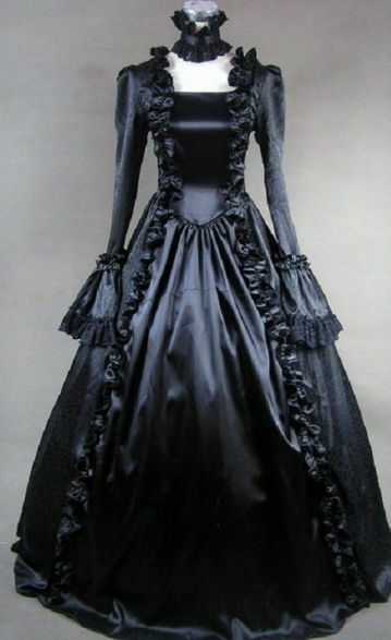 Pure Black Aristocratic Gothic Victorian Dress