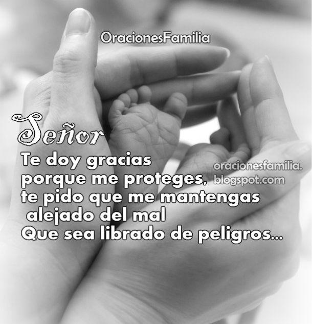 oración corta Dios me proteja, me cuide, imagen cristiana con oración.