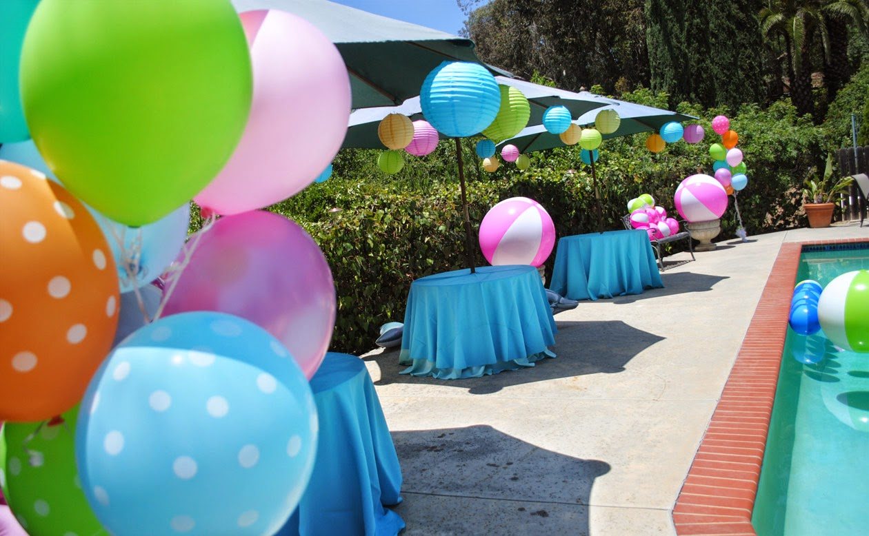 Gwynn wasson designs sophisticated whimsical pink for Pool party dekoration