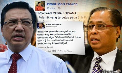 Setelah dikantoikan menipu oleh Liow Tiong Lai Ismail Sabri padam status di Facebooknya
